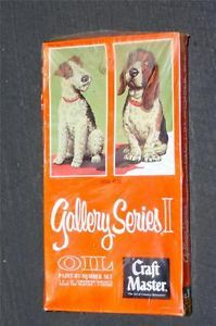 """Vtg Craft Master Gallery Series 2 Oil Paint by Number """"Daily Double"""" Dogs SEALED"""