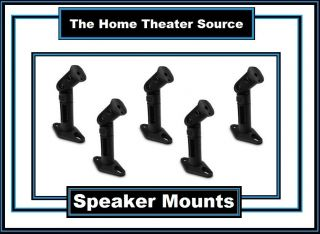 Five 5 Black Speaker Wall Mount Ceiling Bracket for Surround Sound Home Theater