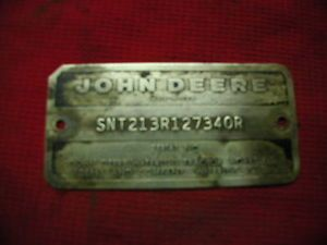 John Deere 4020 Diesel Serial Number Tag