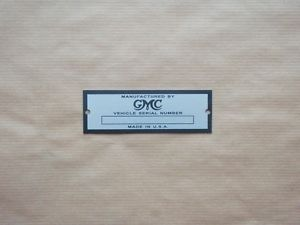 GMC Serial Number Data Plate Hot Rod ID Tag Zinc