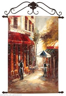 European Cafe Canvas Oil Painting with Metal Frame Europe