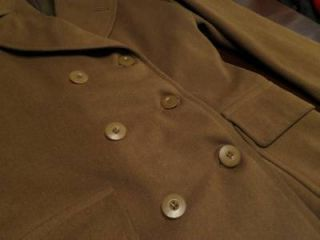 Used Flaws Vtg 1942 Mens WWII Military Wool Army Officers Short Over Coat Sz 36R