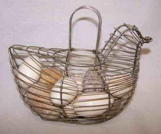 Vintage Wire Hen Egg Basket w Primitive Wooden Eggs Chicken Kitchen