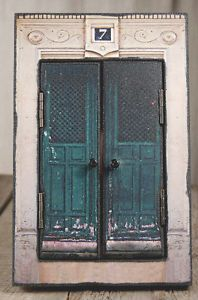 New 7 Turquoise French Door Photo Picture Frame with Open Doors 8 x 10