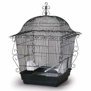 New Black Pure Brilliance Birdcage Wrought Iron Bird Sanctuary Pet Cage Habitat
