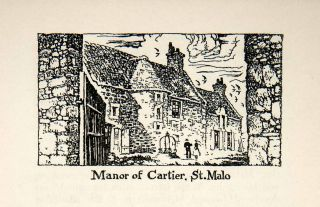 1947 Lithograph Manor St Malo Jacques Cartier Explorer France Brittany Europe