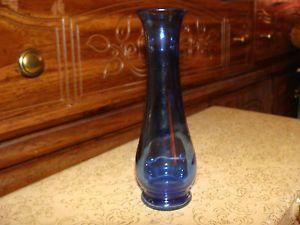 """Antique Vintage Cobalt Blue Glass Small 6"""" Bud Vase Marked 2"""
