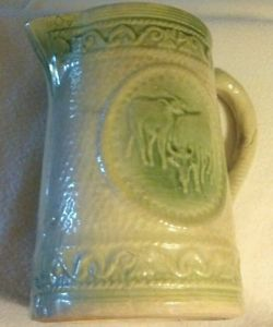 Antique Salt Glaze Stoneware Buttermilk Pitcher Green Cream w Cows