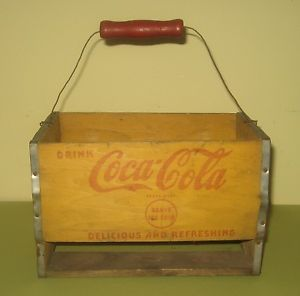 Vintage Antique Coke Sign Advertising Box Crate Coca Cola Bottle Carrier Caddy
