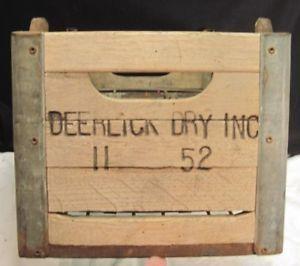 1952 Deerlick California Dairy Milk Bottle Crate Carrier Wood Metal Advertising