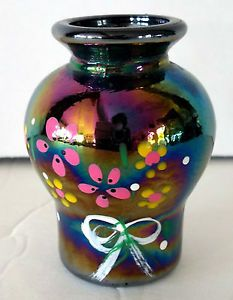 Small Carnival Bud Vase Hand Painted Flowers Amethyst Color 2 1 2 inch Tall