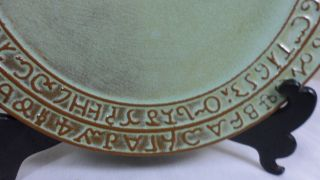 Vintage Mid Century Frankoma Pottery Sequoyah Cherokee Alphabet Stoneware Plate