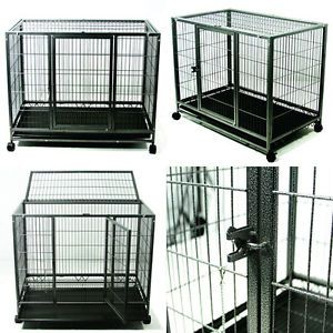 """37"""" Dog Kennel w Wheels Portable Pet Puppy Carrier Crate Cage Large Heavy Duty"""
