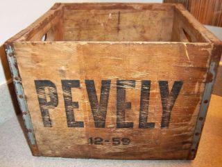 Vintage 1959 Heavy Wood Glavanized Pevely Dairy Milk Crate Botlle Carrier