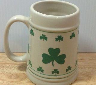 Irish Green Shamrock Stoneware Beer Stein Holiday St Patricks Paddys Day