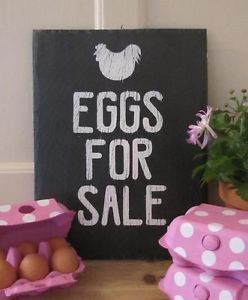 Slate Sign Eggs for Sale Hen Chicken Poultry Fowl Duck Handmade