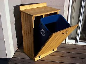Solid Wood Kitchen Garbage Trash Can Wooden Dog Cat Pet Food Bin