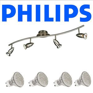 New Philips Ceiling Light Track Kitchen with 4X 3W GU10 LED Bulb Brushed Steel