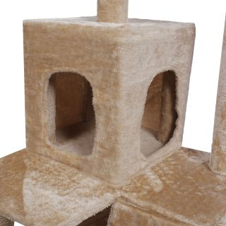 "52"" Cat Tree Condo Furniture Scratch Post Pet House Beige Navy Beige Paws"