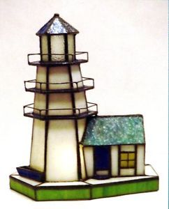 Stained Glass Lighthouse Table Lamp White Green