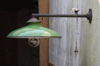 Vintage Steber Green Porcelain Enamel Gas Station Barn Light Lamp Fixture