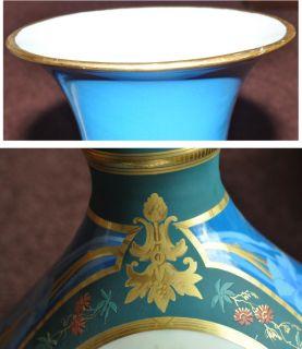 Antique Paris Blue Porcelain Vases Large PR Cherubs