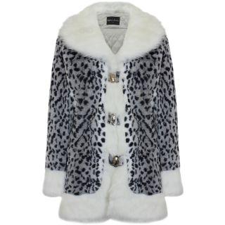 Ladies Womens Faux Fur Snow Leopard Print White Winter Fluffy Fuzzy Long Coat