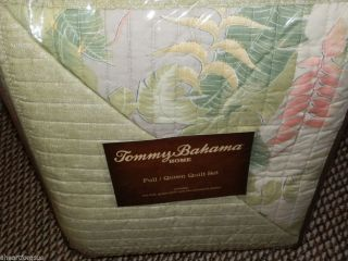 Tommy Bahama New Full Queen Quilt w Shams 3 PC Tropical Reversible Solana