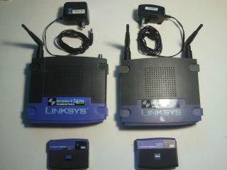 Lot of 2 Linksys Wireless G Access Point WAP54G Router WRT54G 2 USB Adapters