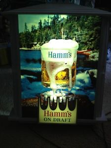 RARE Larger Hamms Beer Lighted on Draft Beer Sign River Water Mug Glass