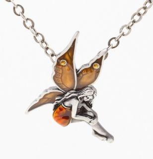 Gemstone Fairy Amber Pendant Necklace Fashion Jewelry Awesome Birthday Gift New