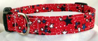 Patriotic 4th July Stars Red White Blue Designer Dog Collar Martingale Leash