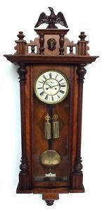 Amazing Antique German Double Weight Vienna Wall Clock Twin Regulator Wall Clock