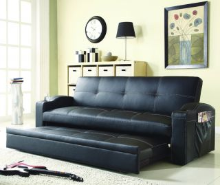 Comfort Novak Bycast Leather Futon Sofa Bed Sleeper Lounger With Pop