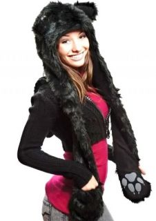 Youth Kids Celebrity Style Fashion Faux Fur Wolf Animal Hoodie Scarf Mitten Hat