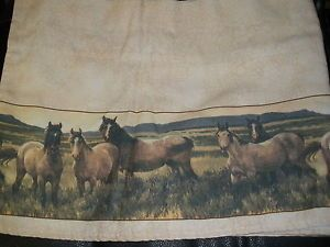 """Set of 2 Western Wild Mustang Horse Ranch Lodge Window Curtain Valance 72x14"""""""