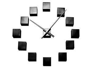 Karlsson Modern Contemporary DIY Wall Clock Black Cube Customisable Office Clock