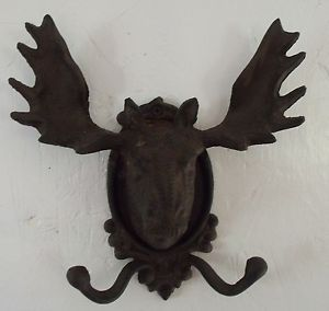Rustic Cabin Decor Cast Iron Moose Coat Hat Hook Wall Porch Garage Decor