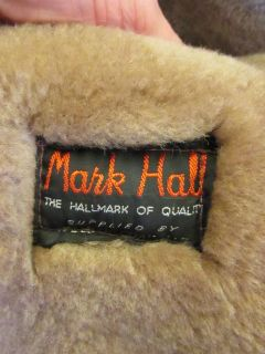 Mens Vtg 1980s Brown Real Sheepskin Fleece Leather Winter Pea Coat Jacket Medium