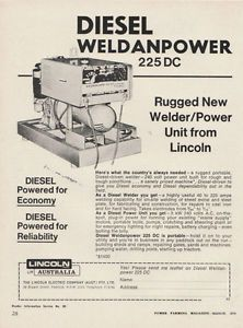 Vintage 1974 Lincoln Welders Weldanpower 225DC Advertisement Welding