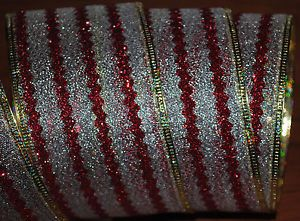 Wired Ribbon Christmas Rick Rack Stripe Red Silver Sparkle Holiday Wreath Bow