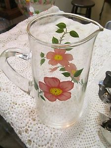 Franciscan Desert Rose Glass Water Ice Tea Pitcher with Handle Vintage Pattern