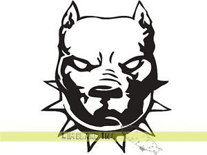 Mean Pit Bull Terrier Dog Black Car Decal Sticker Puppy