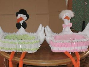 Unique Stork Basket Baby Shower Decorations Favors Gift