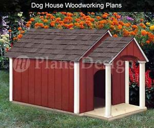 Dog House Pet Kennel Plans Gable Double Roof Style with Porch 90305D
