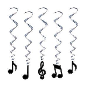 1950's 50's Party Black Musical Music Notes Hanging Whirls Decorations