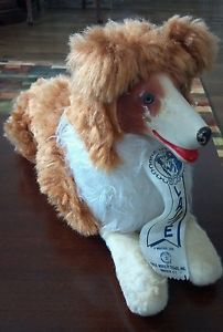 RARE Vintage Rubber Face Lassie Dog Collie Plush Smile Toy Co Brooklyn NY 1950