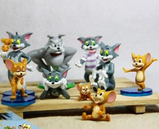 9pcs Tom and Jerry Spike Cartoon Action Figures Cat Mouse Dog Animals Toy PVC
