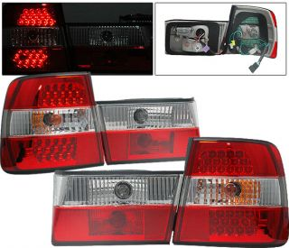 89 95 BMW E34 525 530 535 540 LED Red Clear Tail Lights