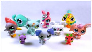 Lot of 10 Littlest Pet Shop LPS Cat Dog Toy Animals Figures Child Girl Xmas PS50